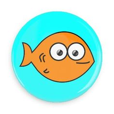 Funny Buttons - Custom Buttons - Promotional Badges - Cute Animals Pins - Wacky Buttons - Goldfish