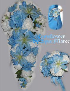 Cornflower Bridal Bouquet Cornflower Wedding by ParisFlowerMarket