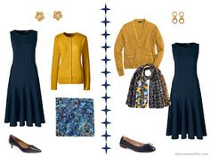 Two ways to wear a navy dress with gold or mustard accents