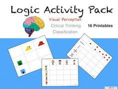 This is a 32 page logic activity pack for children ages 4-7. These are logic activities that progress in level of difficulty. These puzzles develop critical thinking and visual perception as children learn through classification of multiple attributes.