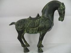Old Chinese Bronze Horse Statue Carved With Dragon & Phoenix,  24.  5 Cm X 26 Cm photo