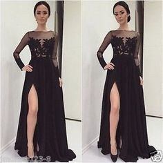 Black-Long-Sleeve-Side-Slit-Prom-Evening-Formal-Wedding-Party-Homecoming-Dress