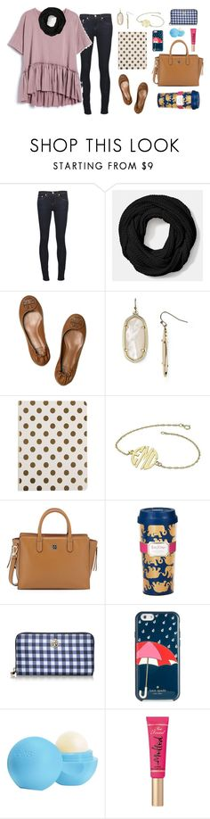 """""""It's a Grey's Anatomy kinda night 😜"""" by preppy80 ❤ liked on Polyvore featuring rag & bone/JEAN, Coach, Tory Burch, Kendra Scott, Kate Spade, Lilly Pulitzer, Eos and Too Faced Cosmetics"""