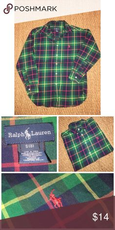Ralph Lauren Oxford Shirt Pre•loved Ralph Lauren Oxford Shirt  Size 8  Made of 100% Cotton  Perfect colors for the holiday  Excellent used condition 11317P Polo by Ralph Lauren Shirts & Tops Button Down Shirts