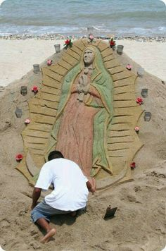 La Virgen Guadalupe Sand Art ~ Puerto Vallarta, Mexico.  Check out La Fuente Imports wide variety of 'Religious Folk Art' today: http://www.lafuente.com/Mexican-Art/Religious-Folk-Art/