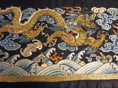 Chinese Embroidered Panel... Five Clawed Dragons...Late Qing | eBay