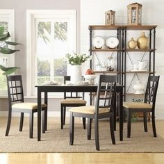 Shop For TRIBECCA HOME Wilmington Black Window Back 5 Piece Dining Set. Get  Free