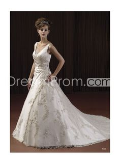 Glamorous Sexy V-neck With A Line Skirt And Chapel Train Appliques Hot Sell Wedding Dress  picture 1