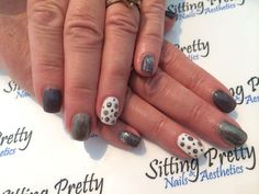 Grey, silver, sparkle, glitter & dots nails #sittingpretty Pretty Nails, Dots, Sparkle, Glitter, Grey, Silver, Gray, Money, Belle Nails