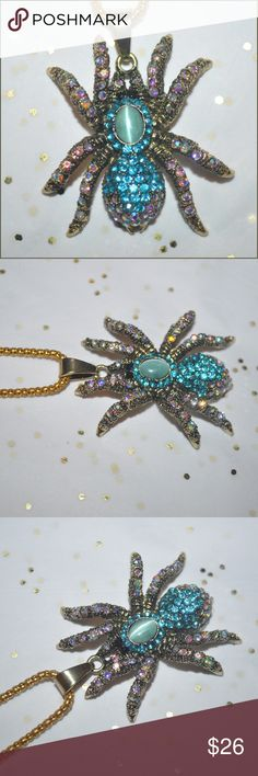 Jeweled Spider Necklace GORGEOUS!!! - BRAND NEW without tag - light weight // tags: stone blue colors colorful color rhinestones rhinestone jewels jewel bold statements statement different fashion style cool neat awesome amazing large pendants pendant necklaces jewelry womens women girly girls girl animals animal fun flirty date night day flirt present gifts gift cute adorable unique spiders arachnid rock holiday shiny shiny sparkle sparkly chain legs creepy goth punk party casual chic…