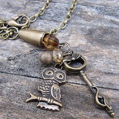 This antique bronze charm necklace features a cute owl and key charm (with a tiny, wee kitty! The Pussycat, Cute Owl, Jewelry Making, Bronze, Crystals, Bracelets, Crystal, Jewellery Making