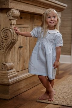 """""""Abbie Kate"""" - Girls Blue Hand Embroidered Dress"""