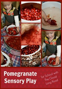 Taking pomegranate seeds out of the pomegranate is such a great fine motor activity.