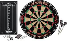 Viper League Pro SisalBristle Steel Tip Dartboard with StapleFree Bullseye and Cricket Scoreboard Kit ** Read more  at the image link.