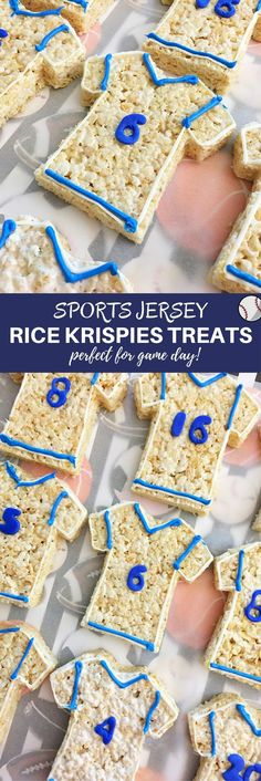 Sports Jersey Rice Krispies Treats are the perfect dessert or. Sports Jersey Rice Krispies Treats are the perfect dessert or snack for a game day party. Theyre as much fun to make as they are to eat! Rice Krispies, Rice Krispie Treats, Best Dessert Recipes, Fun Desserts, Delicious Desserts, Snack Recipes, Rice Recipes, Amazing Recipes, Hockey Party