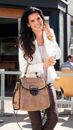 Angie Harmon - love the purse and jacket over t-shirt with dark pants