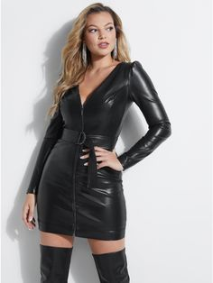 Josette Belted Faux-Leather Dress at Guess Leather Mini Dress, Leather Dresses, Leather Skirts, Leather Leggings, Black Boots Outfit, Fashion Essentials, Short Tops, Leather Fashion, Sexy Outfits