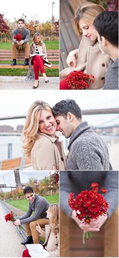 And this gorgeous shoot! love the pops of red... Engagement pictures for me and incorporate the ring of course!