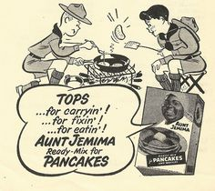 TOPS ...for carryin'! ...for fixin'! ...for eatin'! AUNT JEMIMA Ready-Mix for PANCAKES