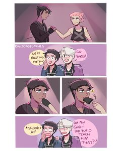 """randomsplashes: """" randomsplashes: """" how to upstage ur skating dads' performance and make them shook af: a guide by yurio (with otabek) """" bonus: heh yurio totally taught otabek that (he didn't) """""""