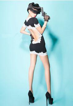 Morpheus Boutique  - Black Lace Backless Hem Sexy Clubwear Banded Mini Dress