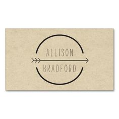 Hip and Rustic Arrow Logo on Tan Cardboard Business Card. Make your own business card with this great design. All you need is to add your info to this template. Click the image to try it out!