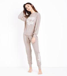 Mid Pink Sleep In Late Knit Pyjama Joggers