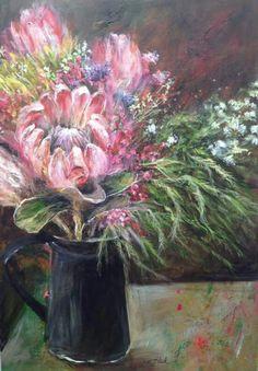 ** Kim  Black Protea Art, South African Artists, Black Artists, Gcse Art, Flower Art, Art Flowers, Artist Art, Creations, Colours