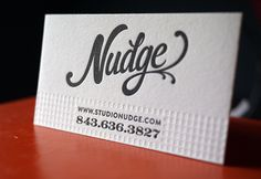 Be sure check out studionudge.com and their impressive website and design work!  Printing on 110lb pearl white Crane Lettra.