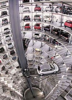 "Automated mechanical parking garage at the ""Autostadt"" Volkwagen attraction in Wolfsburg, Germany"