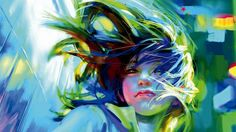 This HD wallpaper is about woman's portrait multicolored painting, artwork, women, colorful, Original wallpaper dimensions is file size is Illustrations, Illustration Art, Hair In The Wind, Wind Hair, Art Background, Female Portrait, Tolkien, Art Girl, Hd Wallpaper
