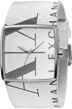 AX Armani Exchange Square Logo Watch , show off this statement making watch all Summer long, the white with the printed designer name on the band is an unique idea, one of a kind like you! Ax Watches, Watches For Men, Wrist Watches, Jewelry Watches, Armani Watches For Women, Michael Kors, Marc Jacobs, Square Logo, Watch Brands