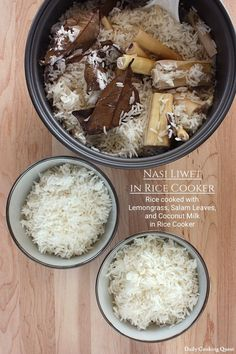 Nasi liwet is rice cooked in coconut milk, chicken stock, lemongrass, and Indonesian bay leaves (daun salam), giving the rice a very rich and aromatic taste. Rice Cooker Recipes, Rice Recipes, Asian Recipes, Cooking Recipes, Cooking Tips, Meal Recipes, Nasi Liwet, Nasi Lemak, Nasi Goreng