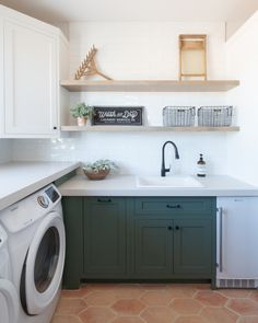 Laundry Room, Terra-cotta flooring, hex tile, green cabinetry Design By: K Design Photo: Isaac Bailey Laundry Cabinets, Laundry Room Bathroom, Laundry Room Storage, Laundry Room Design, Kitchen Design, Laundry Closet, Small Laundry, Mexican Restaurant Decor, Laundy Room