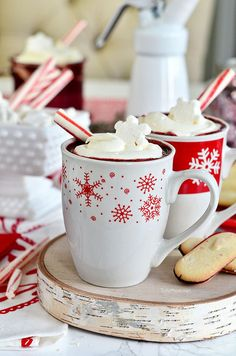 Red Velvet Hot Chocolate with Cream Cheese Whipped Cream is so easy to make at home.