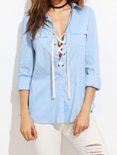 23$  Watch here - http://dizkd.justgood.pw/go.php?t=8235 - Blue Lace Up Front Equipment Blouse