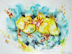 "Items similar to Original watercolour painting"" Yellow chicks"" x Wall Home Decor Modern Contemporary, portrait, Fine Art , on Etsy Paintings For Sale, Watercolour Painting, Modern Decor, Modern Contemporary, Illustration Art, Fine Art, The Originals, Portrait, Yellow"