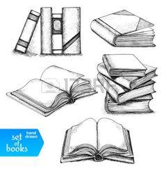 skizzen: Bücher gesetzt. Geöffnet und geschlossen Bücher, Bücher im Regal, gestapelten Bücher und einzigen Buch isoliert auf weißem Hintergrund.