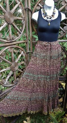 Lined sheer earth tone floral broomstick skirt  by LamplightGifts