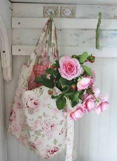 fresh flowers ~ pink roses ~ kath kidston ispired bag ~ pink gingham ~