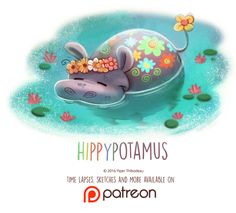 Daily Paint 1446. Hippypotamus by Cryptid-Creations