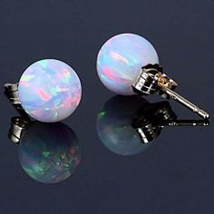 6mm Australian Fiery White Opal Ball Stud Post by 1000jewels, $61.00 Totally getting these for my birthday this year.