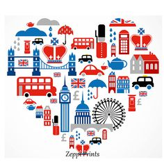 Union Jack London British Heart Art Print by Zeppi Prints https://www.etsy.com/listing/169225556/union-jack-london-british-heart-art