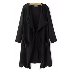 SheIn(sheinside) Black Long Sleeve Pockets Loose Trench Coat ($37) ❤ liked on Polyvore featuring outerwear, coats, jackets, sheinside, clothes - outerwear, black, pocket coat, long trench coat, long sleeve coat and trench coat