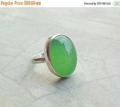 Apple green ring  Chalcedony ring jewelry  Bezel set by Studio1980