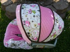 Owls in Tree with Bubble Gum Infant Car Seat Cover by sewcuteinaz (etsy)