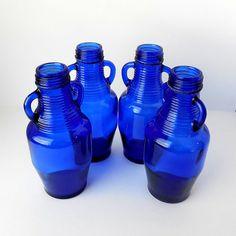 Cobalt Blue Glass Bottles with Handles (Set of 4) - Collectible Cobalt Jug