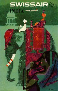 INDIA - felixinclusis: pinkjetpack: Swissair Vintage travel poster Poster Illustration by Donald Brun.