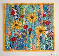 Flowers for Jo - Szmatki Małgorzatki Colorful Quilts, Small Quilts, Scrappy Quilts, Mini Quilts, Textiles, Fabric Postcards, Flower Quilts, Miniature Quilts, Landscape Quilts