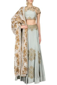 BHUMIKA SHARMA Soft blue embroidered lehenga set available only at Pernia's Pop Up Shop.